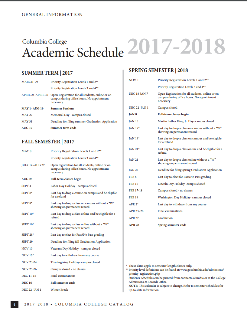 Catalogs Calendars And Schedules Columbia College
