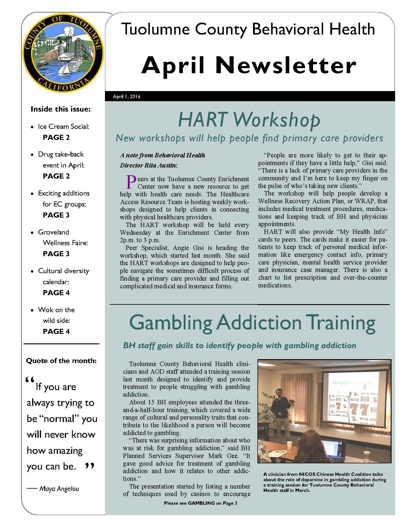 Beh Health April Newsletter Page 1