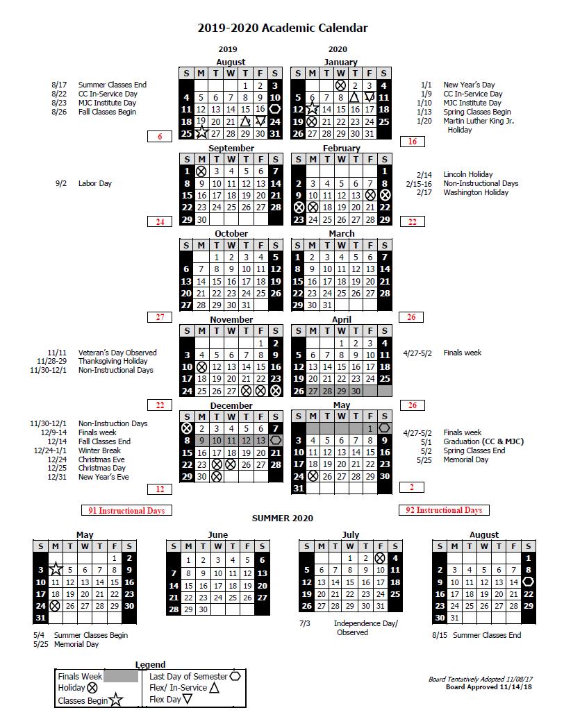Columbia 2020 Calendar Columbia College Calendar and Finals Schedule