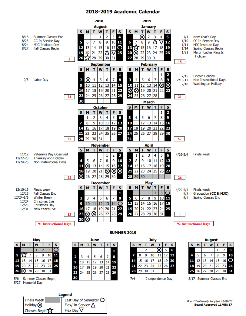 2018-19 Academic Calendar