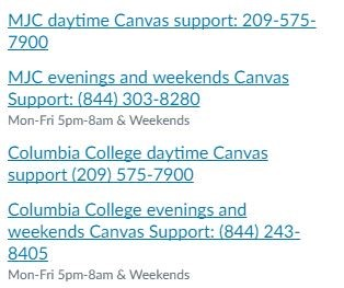 Canvas Support Information