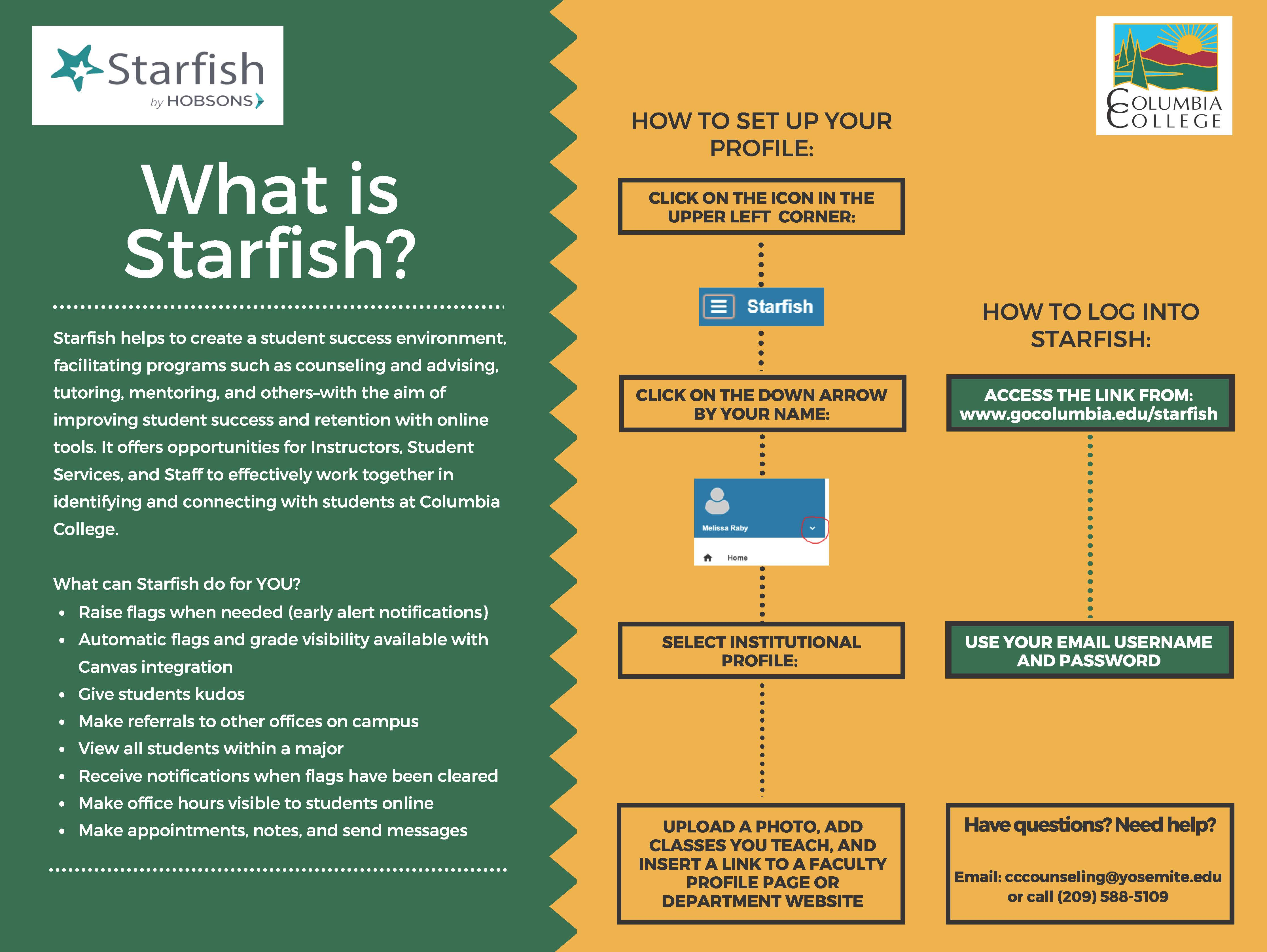starfish log in and profile info