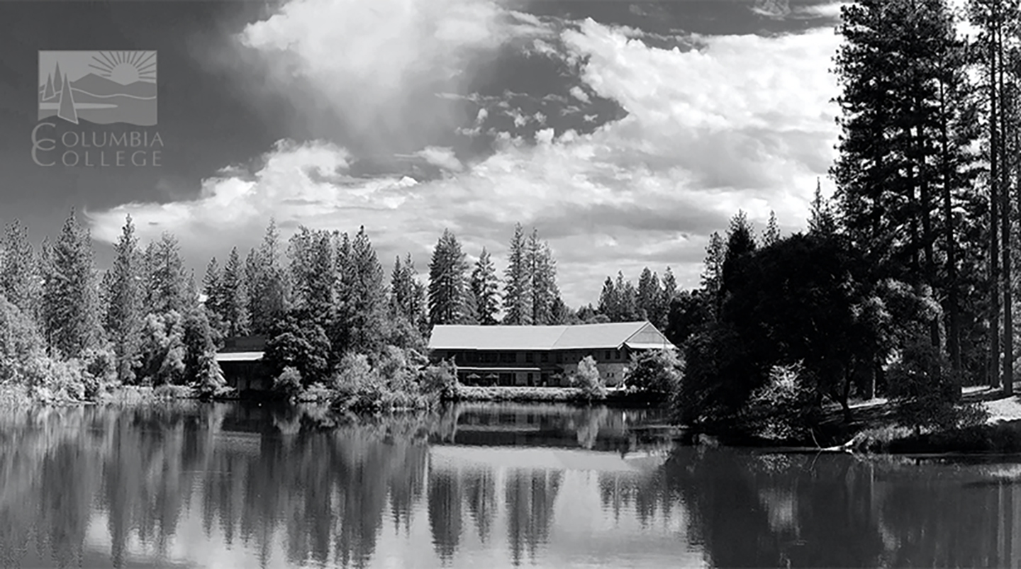 library and lake at Columbia College black and white