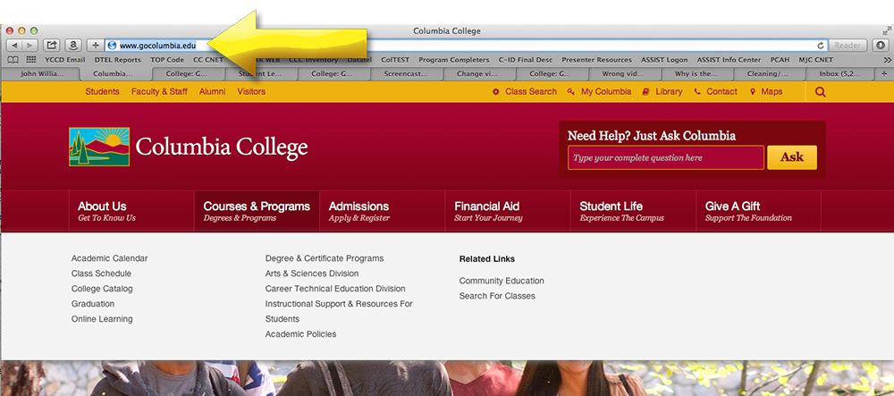 Columbia College website URL