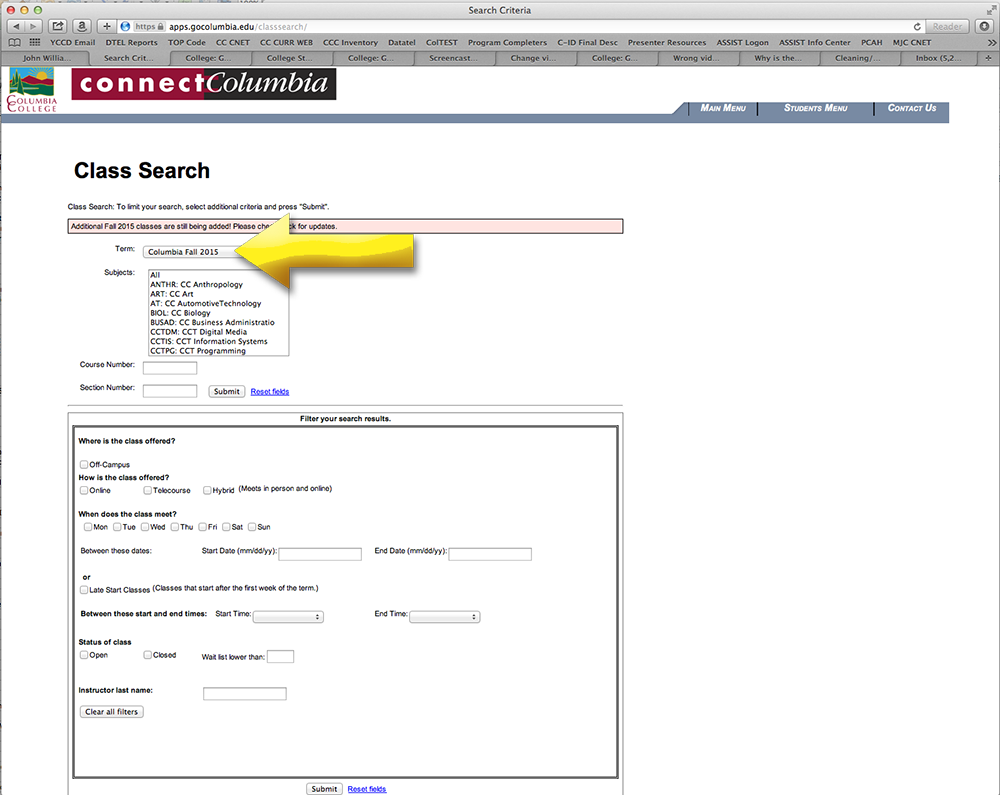 Schedule search selection page. Confirm the term accuracy.